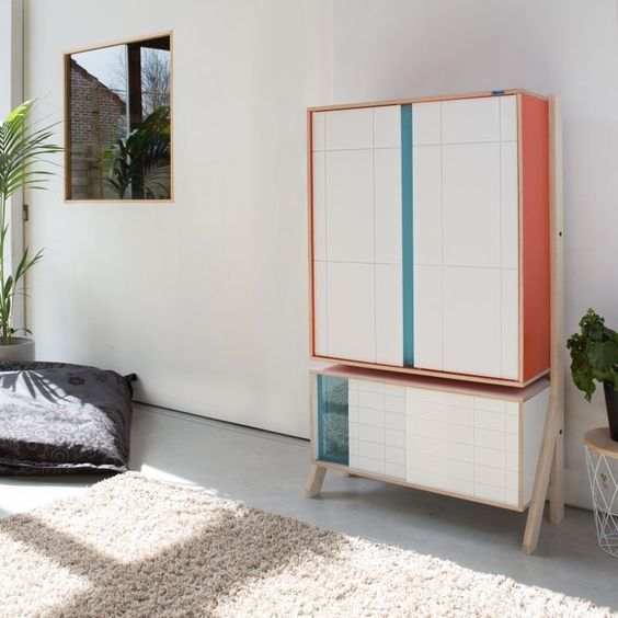 flat frame cabinet in two sections
