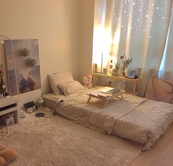 floor bed teen bedroom idea wooly area rug in white white window curtains light wood floors