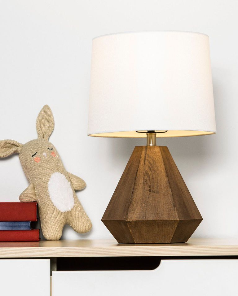 geometric wood base table lamp with white lampshade