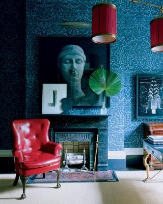 glossy red leather armchair in classic style textural blue wallpaper with classic patterns artistic painting