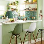 Green Clay Tile Backsplash White Bar Table In White Midcentury Modern Bar Stools Wood Open Shelves