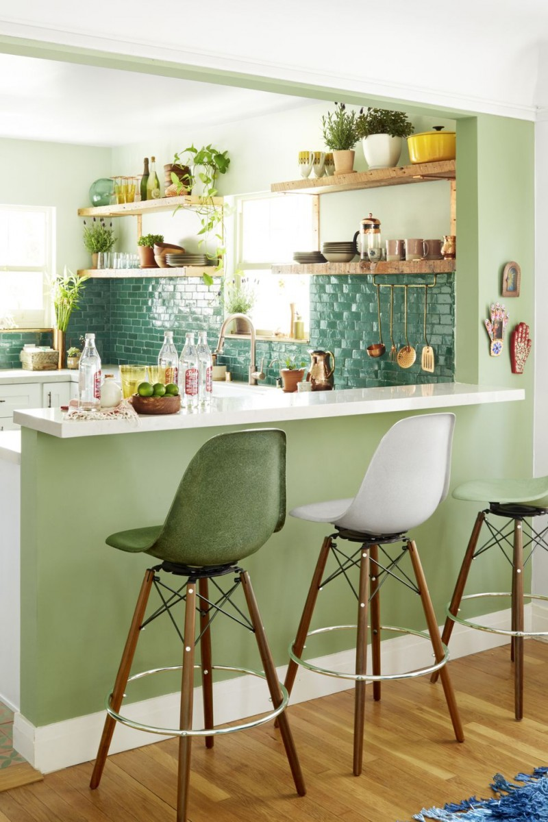 green clay tile backsplash white bar table in white midcentury modern bar stools wood open shelves