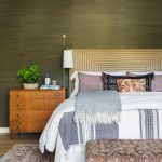 Green Forest Shade For Walls Gold Toned Headboard Wood Dresser Vintage Area Rug And Bench Bed