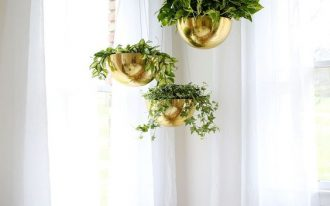 hanging plants gold tone hanging planters