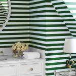 Horizontal Green Bottle Stripe Wallpaper For Tiny Slanted Bathroom