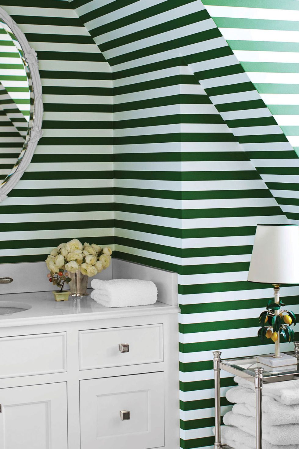horizontal green bottle stripe wallpaper for tiny slanted bathroom