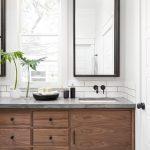 Industrial Midcentury Modern Bathroom Wood Cabinetry Industrial Style Light Fixtures Industrial Style Mirror