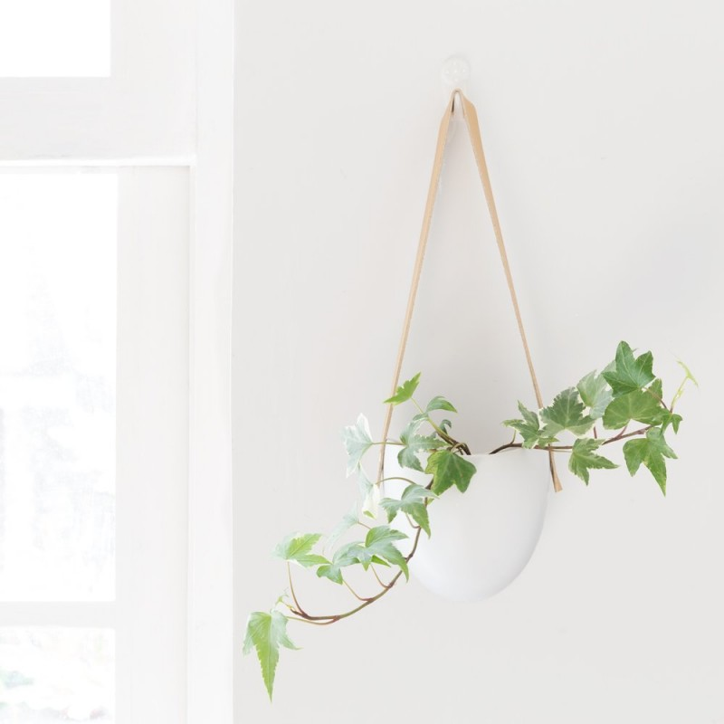 leather sling ceramic planter