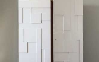 modern armoire with panelled surface of door