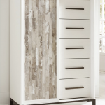 Modern Farmhouse Armoire In White With Whitewashed Door Panel
