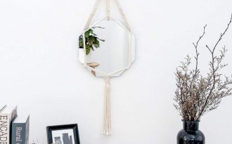 octagonal Boho wall decorative mirror