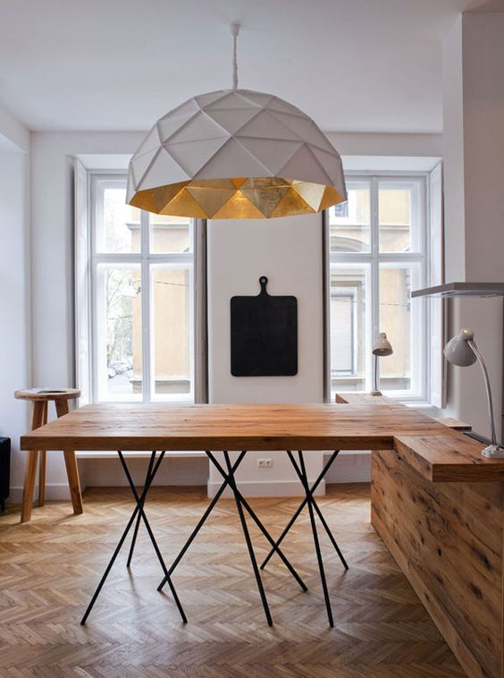 oversize pendant with white textured lampshade foldable wood table with X tiny legs