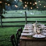 Strings Of Christmas Light Decoration For Outdoor Dining Space
