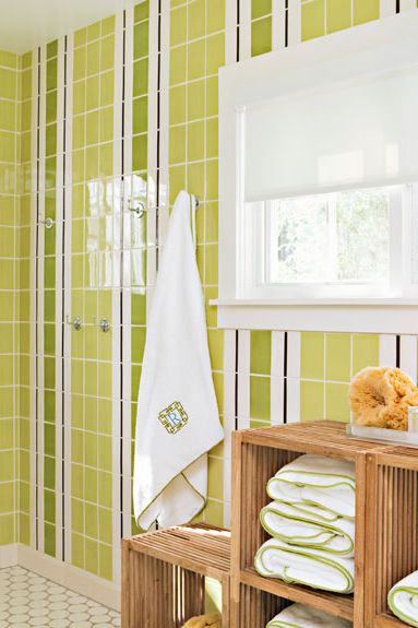 striped lemon green tiles for walls hexagon tile floors in white textured wood open shelves