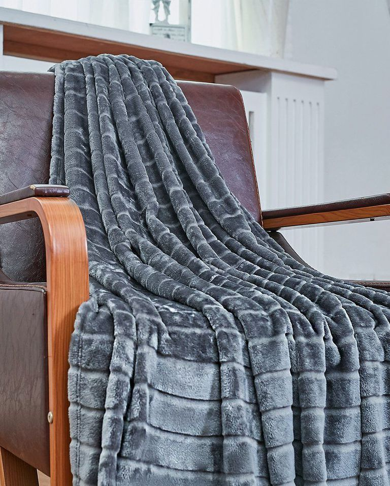 textured velvet throw blanket in glossy gray