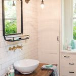 Timeless Bathroom Antique Mirror Old Feel Table Vanity With White Sink Subway Tile Walls In White Mosaic Tile Floors Antique Lighting Fixtures
