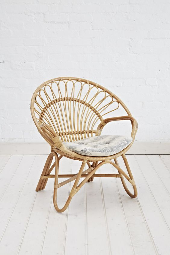tiny rattan chair with shag cushion