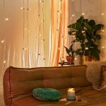 Twinkle String Light Curtain Leather Couch In Earthy Brown
