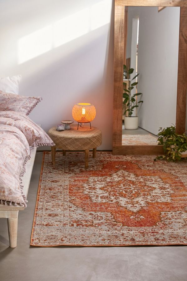 vintage tufted rug with boho medallion prints in orange