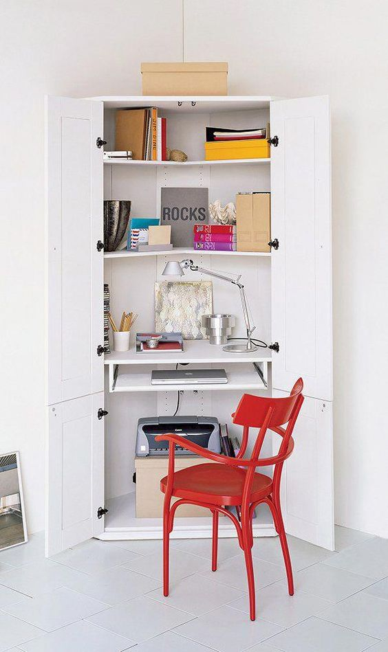 walk in closet workspace idea in white red working desk