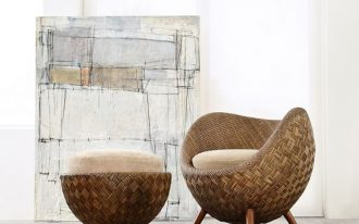 La Luna Chair made of jute and rattan and foam and woven addition