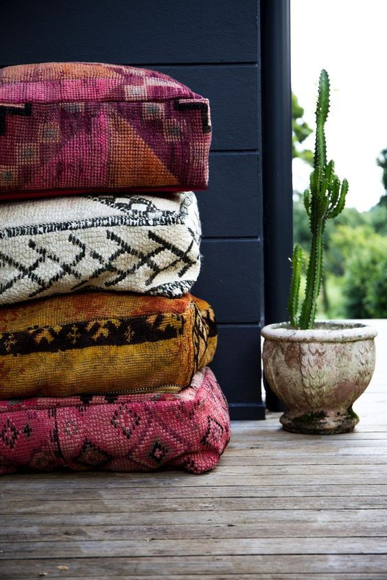 Moroccan floor cushions with typical patterns and color tones