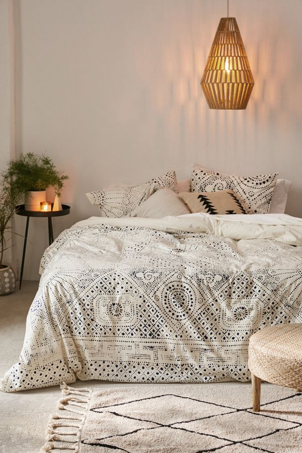 Rowan Bandhani duvet cover with navy blue print accents