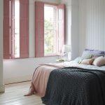 Blush Pink Wood Panel Window Shutters Crisp White Wood Plank Walls And Floors
