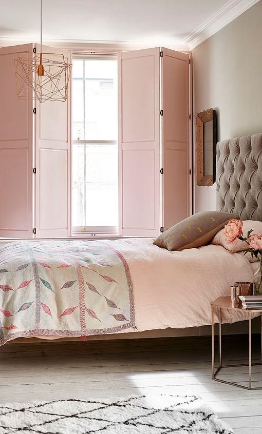 blush pink wood shutters baby pink duvet cover with motif accent bed frame with tufted headboard in gray pale gray walls