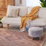 Diamond Cut Patterned Area Rug With Bordered Edges Midcentury Modern Sofa Midcentury Modern Stool