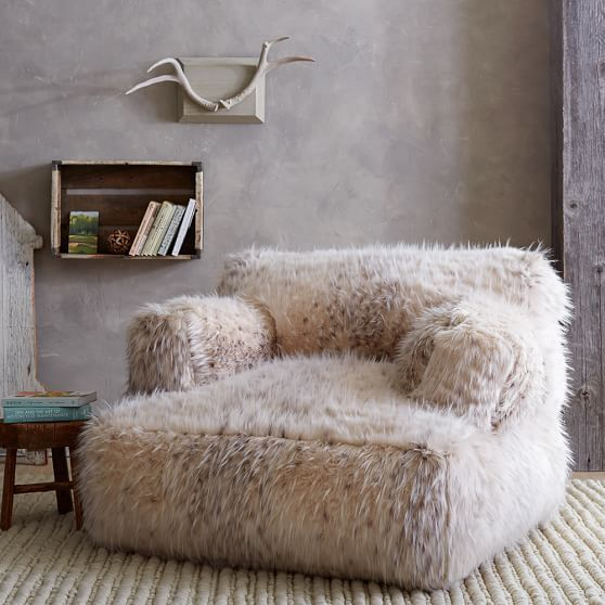 faux fur seat in white