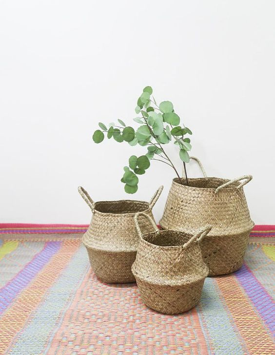 foldable seagrass basket for plants