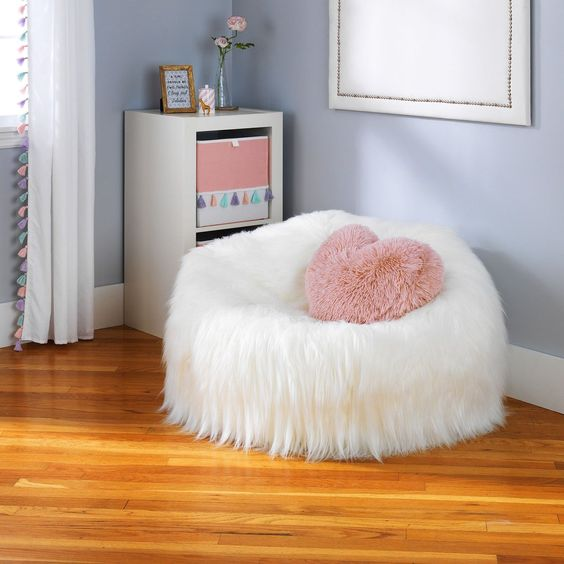 fury seat in white fury throw pillow in pink