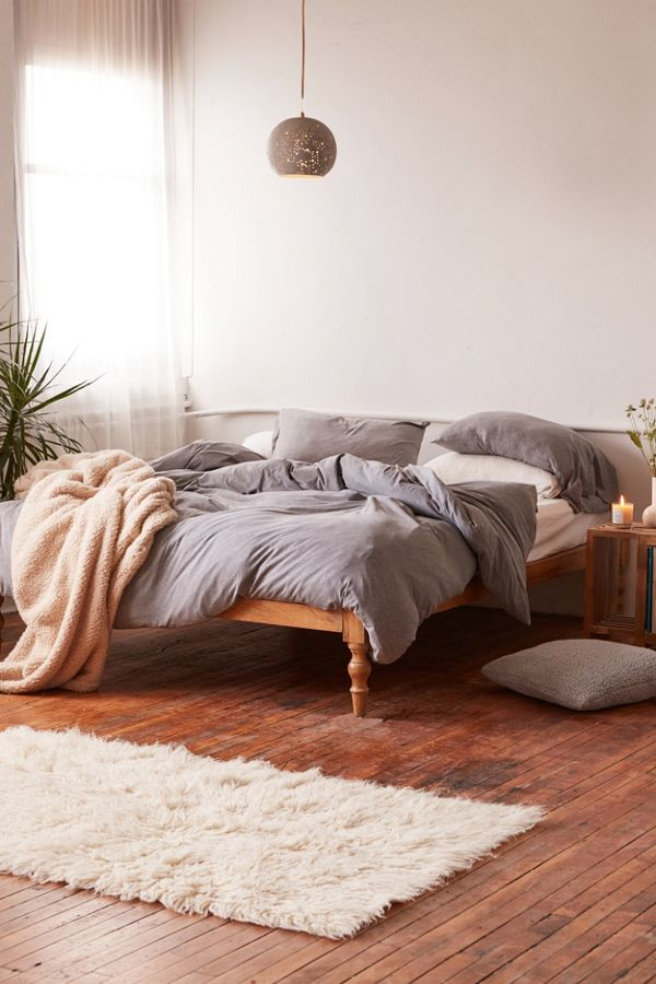 gray duvet set by Urban Outfitters pastel throw blanket faux fur rug in white modern pendant
