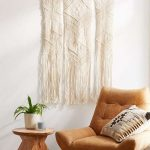 Mini Reading Nook Idea Fallon Macrame Wall Decor In Boho Style Leather Chair With Wire Legs Wood Side Table