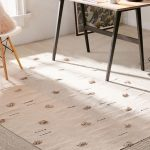 Minimalist Area Rug With Dotted Poms And Ornate Lines