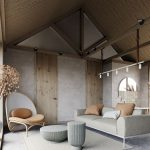 Modern Rustic Living Room Modern Gray Sofa Minimalist Lounge Chair Gray Coffee Tables Textured Area Rug In White Concrete Walls And Floors Slanted Roof With Exposed Beams Wood Roofs