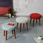 Multifunctional Stools With Colorful Tufted Upholstery Top And Angled Wood Legs
