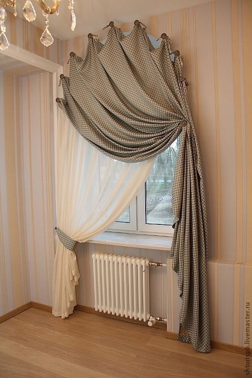 ornate window curtains consisted of two layers sheer white and gray one
