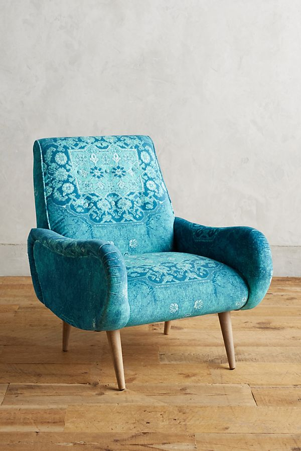 rug printed losange armchair in blue