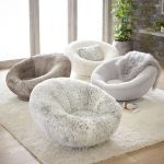 Semi Circle Chairs With Fluffy Upholstery In Light Tone