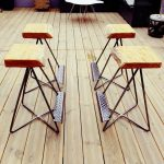 Set Of Stools With Wood Cut Top Steel Legs And Metal Feet Stand