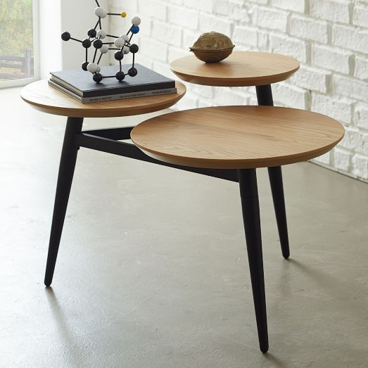 three wood top coffee table with pointed legs