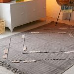 Tonal Striped Area Rug In Gray Accented With Oversized Diamond Cut Patterns With Ornate Roping Decoration In Some Particular Sides