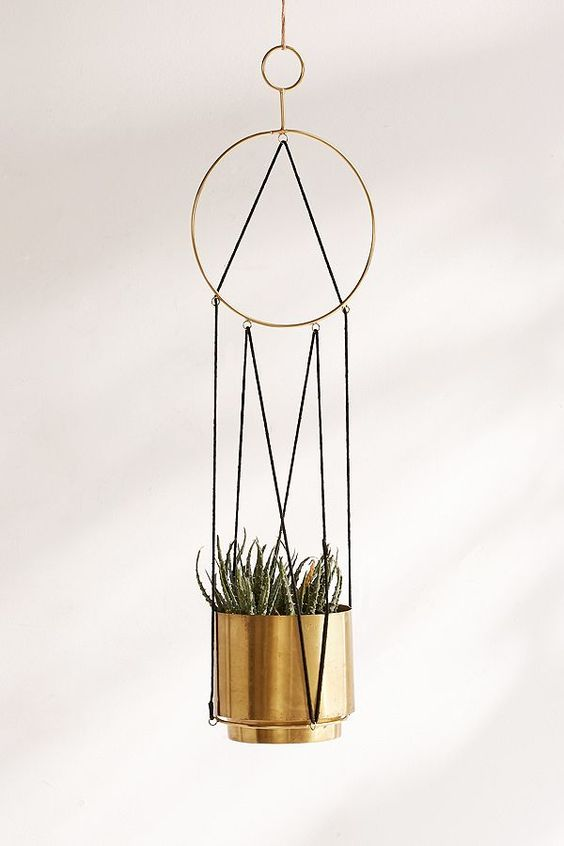 triangle string planter on brass