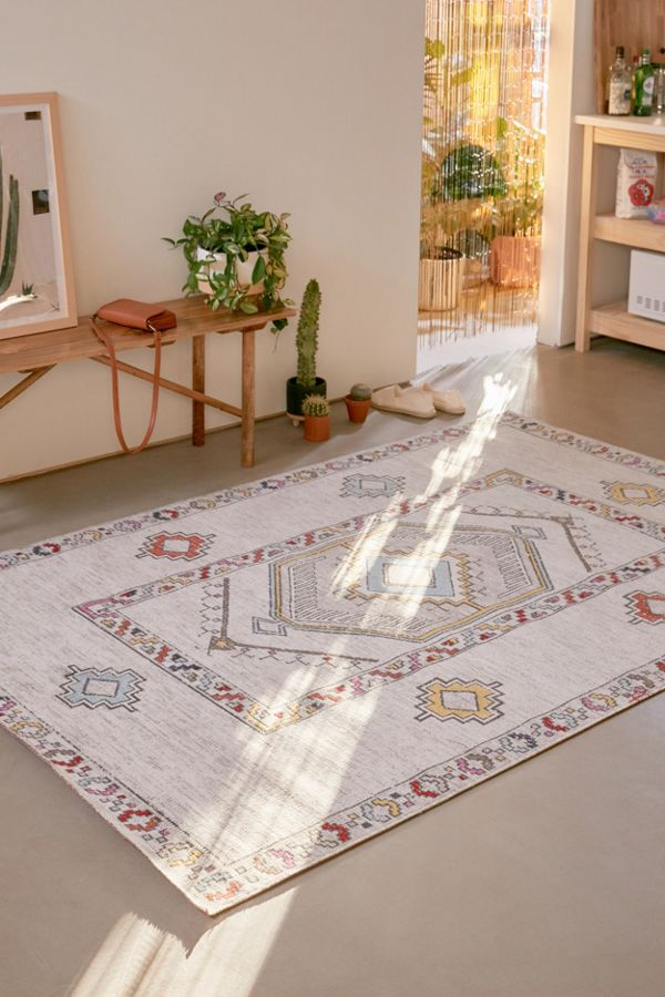 vintage Boho style area rug with geometric prints