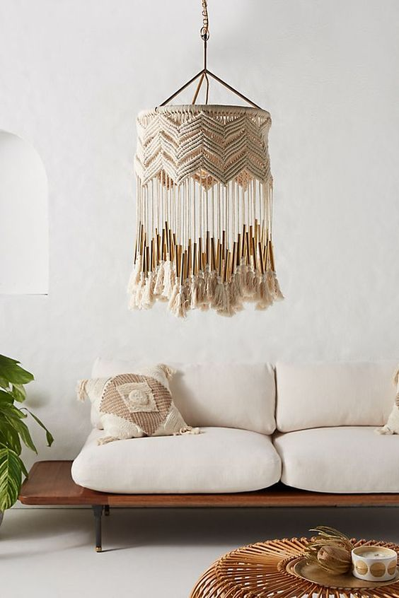 wood bench seat with cushion addition in white decorative pendant in Boho style