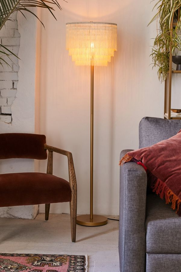 Bohemian floor lamp with macrame lampshade
