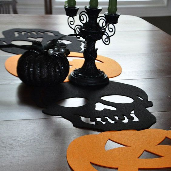 DIY flannel table runner with skull shape