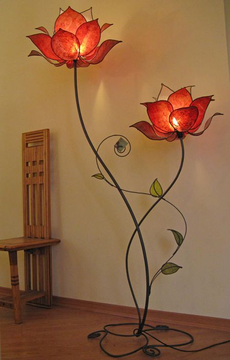 DIY floor lamp made of stained glass for flower petals and metal for stem